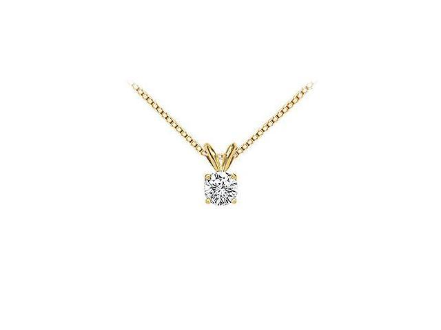 18K Yellow Gold  Prong Set Round Diamond Solitaire Pendant  0.33 CT. TDW.