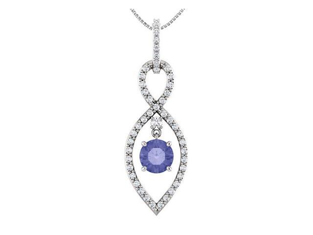 Tanzanite and Diamond Infinity Loop Pendant in 14K White Gold One and a Half Carat TGW