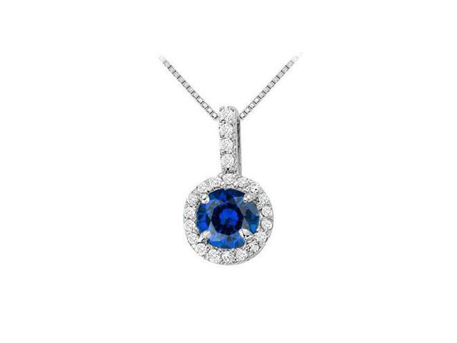 Fancy Round Sapphire and Cubic Zirconia Halo Pendant in 14K White Gold