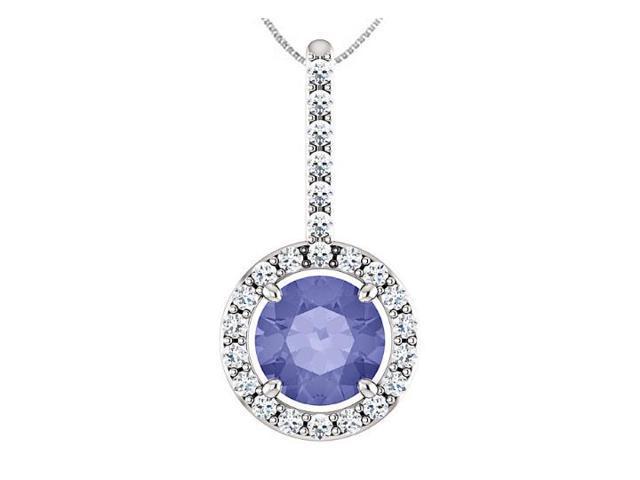 Tanzanite Drop Pendant with Diamond Halo Style in 14K White Gold 1.25 Carat TGW