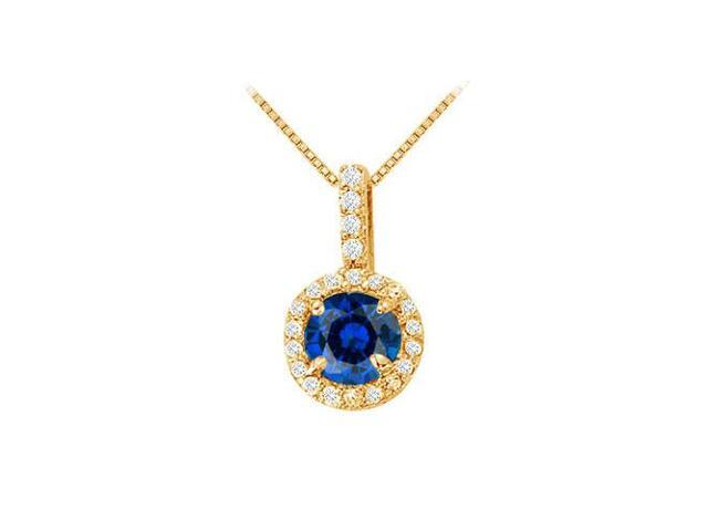 Fancy Round Sapphire and Cubic Zirconia Halo Pendant in 14K Yellow Gold