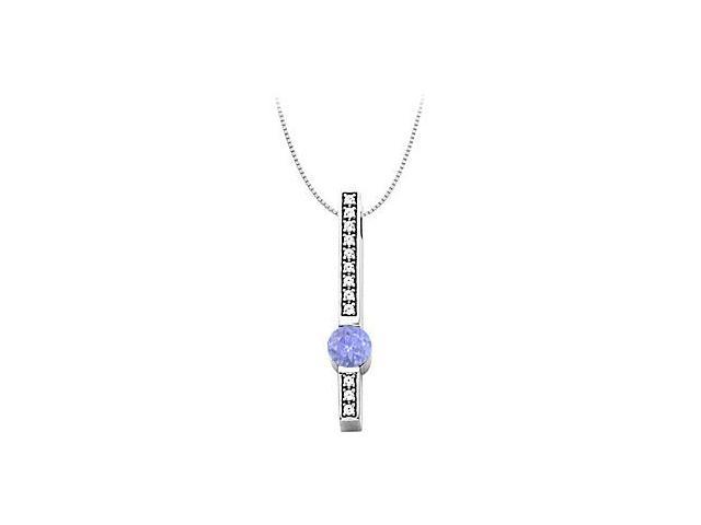 Cubic Zirconia and Created Tanzanite Fashion Pendant in 14kt White Gold 0.75.ct.tw