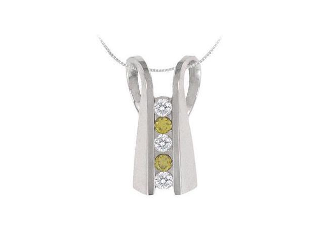 Yellow Sapphire and Diamond Pendant  14K White Gold - 1.00 CT TGW
