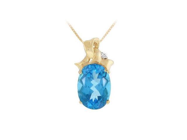 Blue Topaz and Diamond Pendant  14K Yellow Gold - 7.75 CT TGW