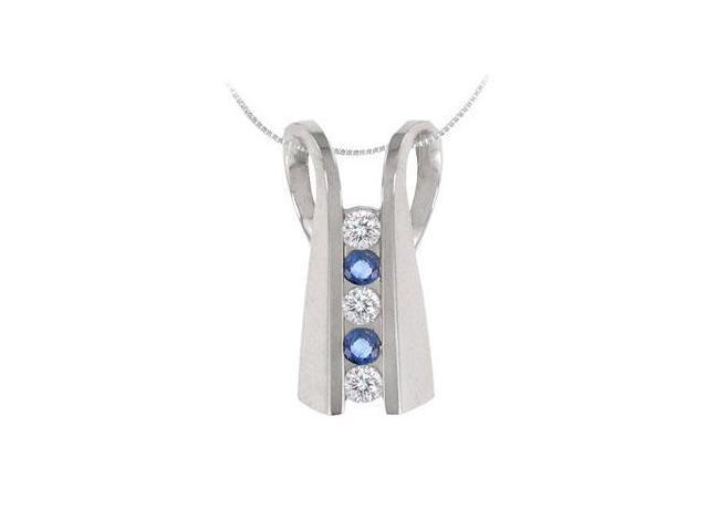 Blue Sapphire and Diamond Pendant  14K White Gold - 1.00 CT TGW
