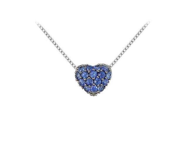 Blue Sapphire Pendant  14K White Gold - 0.50 CT TGW