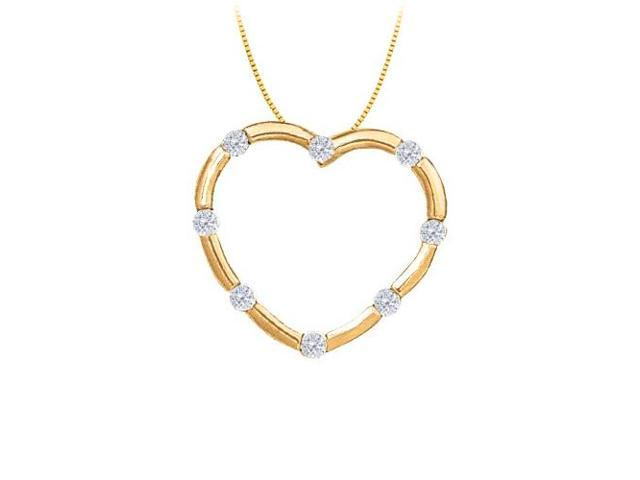 April birthstone Diamond Heart Pendant in 14K Yellow Gold 0.50 CT TDW
