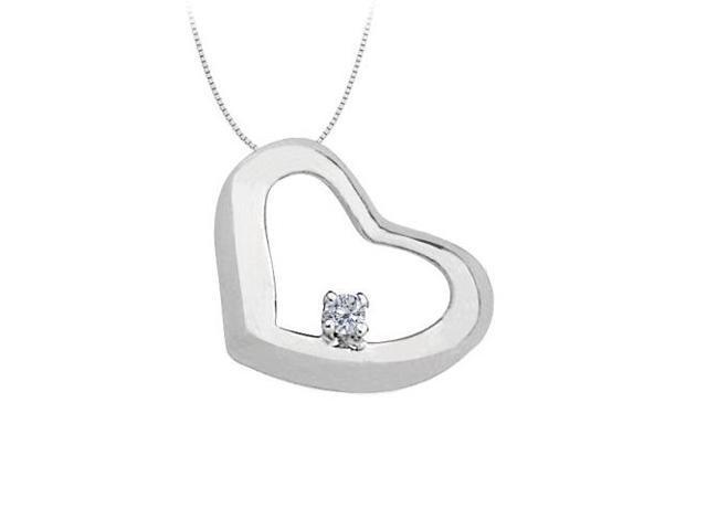 April Birthstone Diamond Heart Pendant in 14kt White Gold  0.10 CT TDW