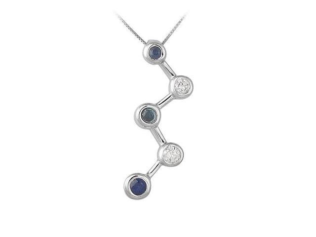 Blue Sapphire and Diamond Pendant  14K White Gold - 0.50 CT TGW