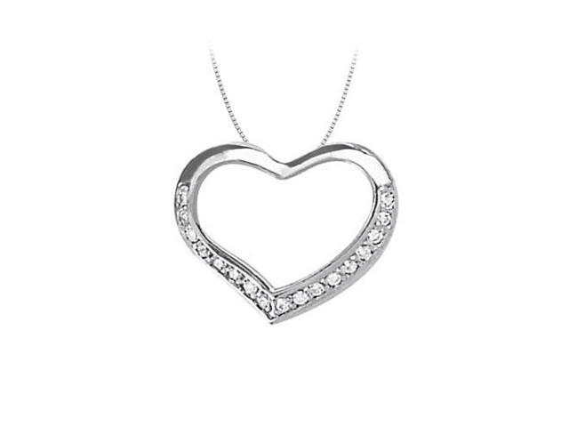April birthstone Diamond Heart Pendant in 14K White Gold 0.10 CT TDW