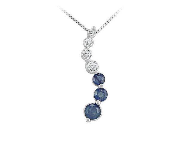 Sapphire and Diamond Journey Pendant  14K White Gold - 1.50 CT TGW