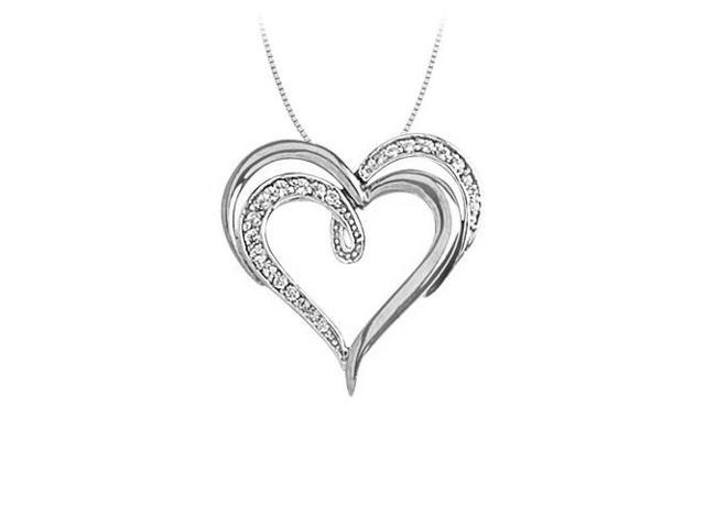 April birthstone Diamond Double Heart Pendant with Diamond heart and Plain Heart 14K White Gold