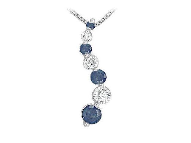 Sapphire and Diamond Journey Pendant  14K White Gold - 1.00 CT TGW