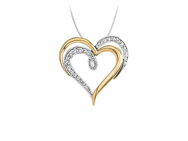 April birthstone Diamond Heart Two Tone Pendant in 14K Gold 0.25 CT TDWValentine Gift
