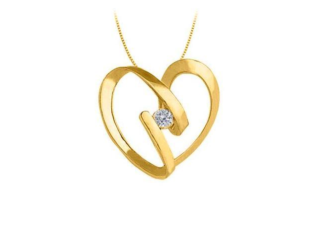 April birthstone Channel Set Diamond Heart Pendant in 14K Yellow Gold 0.25 CT TDW
