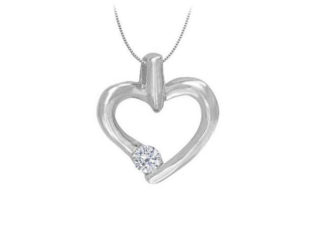 April birthstone Channel Set Diamond Heart Pendant in 14K White Gold 0.15 CT TDW. High polished.