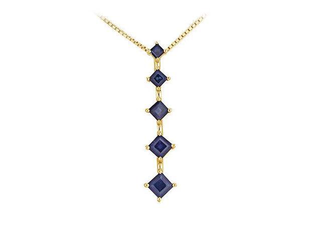 Sapphire Journey Pendant  14K Yellow gold - 1.50 CT TGW