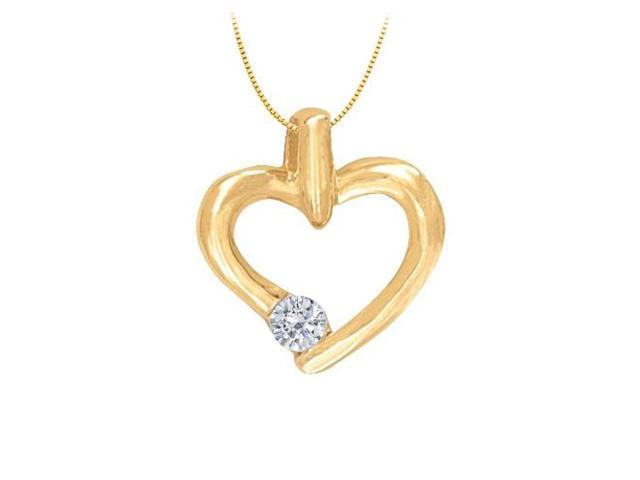 April birthstone Channel Set Diamond Heart Pendant in 14K Yellow Gold 0.15 CT TDW.Valentine Day.