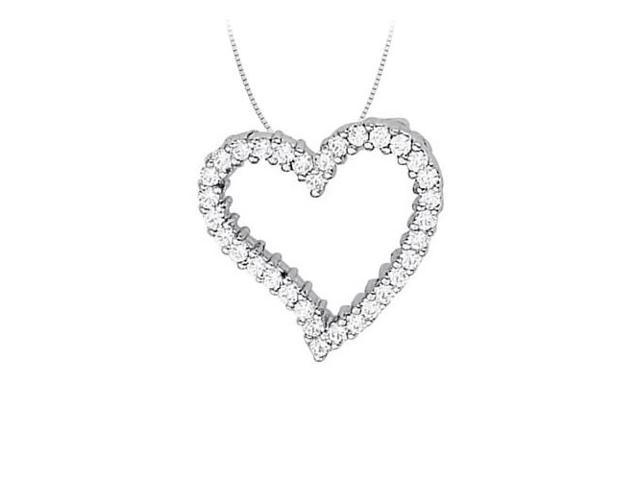 April birthstone Diamond Heart Pendant in 14K White Gold 0.66 CT TDW