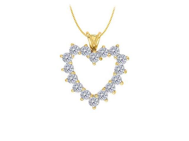 April birthstone Diamond Heart Pendant in 14K Yellow Gold With Total 2.50 Carat Diamonds