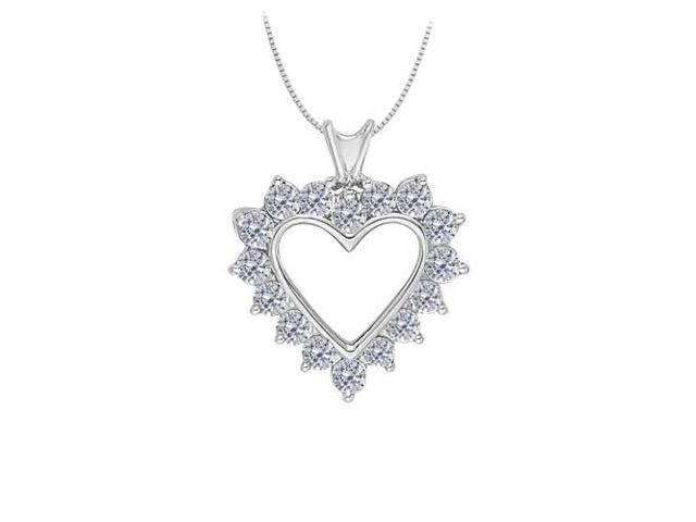 April birthstone Diamond Heart Pendant in 14K White Gold With Total 1.75 Carat Diamonds in Heart