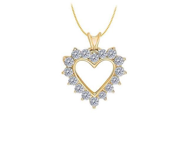 April birthstone Diamond Heart Pendant 14K Yellow Gold With Total 1.75 Carat Diamonds in Heart