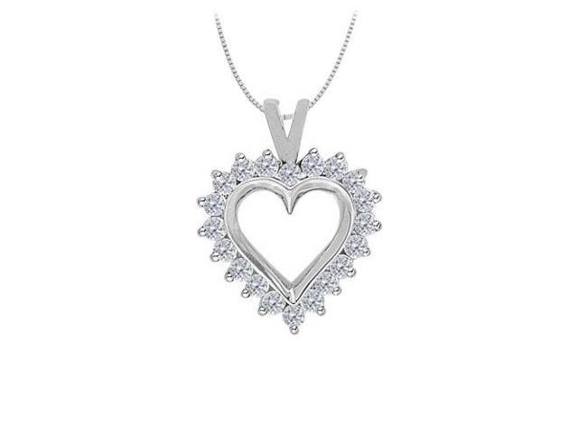 April birthstone Diamond Heart Pendant in 14K White Gold 0.75 CT TDW