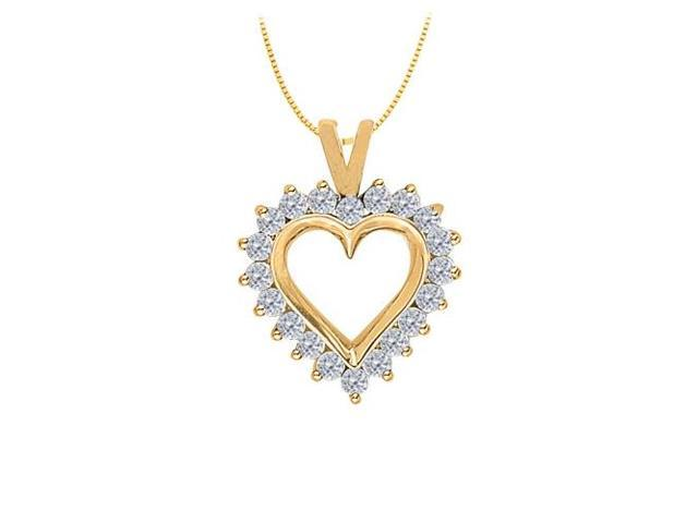 April birthstone Diamond Heart Pendant in 14K Yellow Gold 0.75 CT TDW
