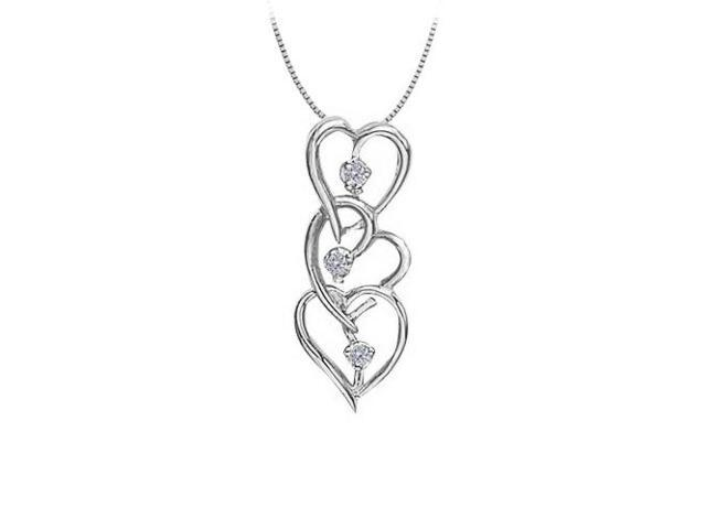 Three Hearts in April birthstone Diamond Heart Pendant 14K White Gold 0.05 CT TDW