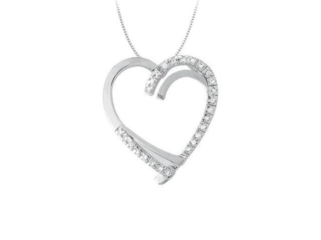 April birthstone Diamond Heart Pendant in 14K White Gold 0.25 CT TDW