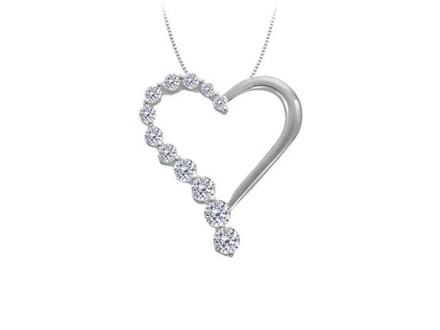 April birthstone Diamond Heart Pendant in 14K White Gold 0.50 CT TDWValentine Day Gift