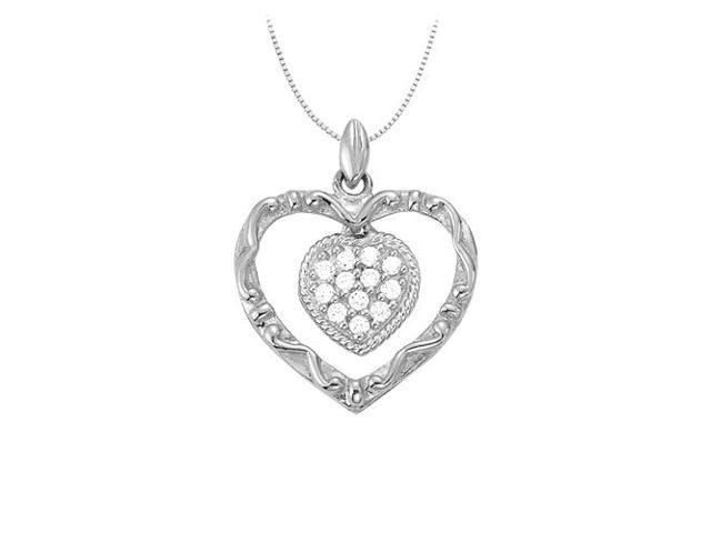 April birthstone Diamond Heart Pendant in 14K White Gold 0.15 CT TDWValentine Day Love Gift