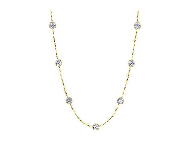 Diamonds By The Yard Necklace on a 14K Yellow Gold Bezel Set 2.00 ct.tw