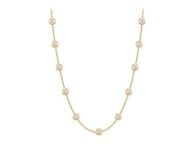 Diamonds By The Yard Necklace in 14K Yellow Gold Bezel Set 0.25.ct.tw