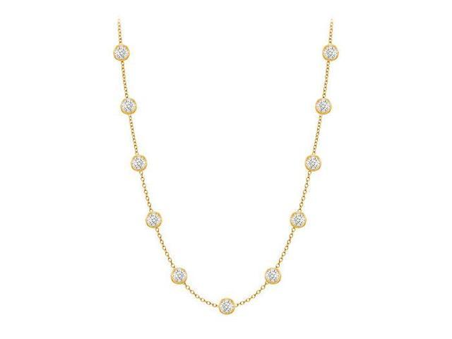 Diamonds By The Yard Necklace in 14K Yellow Gold Bezel Set 0.33.ct.tw