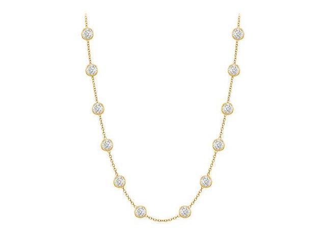 Diamonds By The Yard Necklace in 14K Yellow Gold Bezel Set 0.50 ct.tw