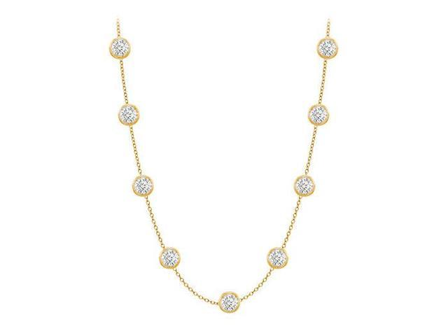 Diamonds By The Yard Necklace in 14K Yellow Gold Bezel Set 1.50 ct.tw