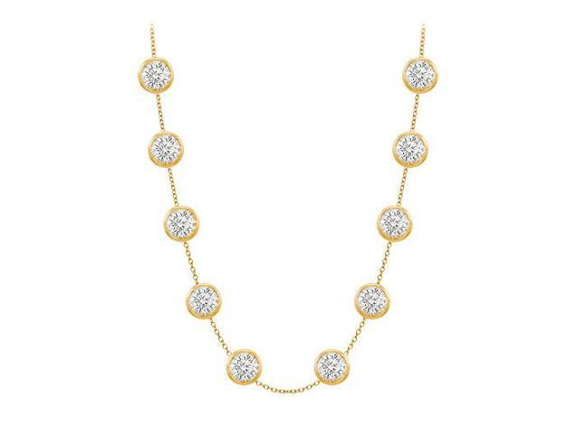 Diamonds By The Yard Necklace on a 14K Yellow Gold Bezel Set 3.00 ct.tw