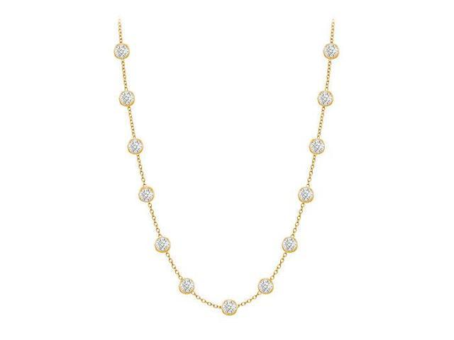 Diamonds By The Yard Necklace in 14K Yellow Gold Bezel Set 0.50ct.tw
