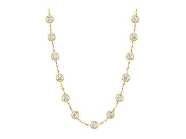 Diamonds By The Yard Necklace in 14K Yellow Gold Bezel Set 2 ct.tw