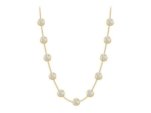Diamonds By The Yard Necklace in 14K Yellow Gold Bezel Set 3.00 ct.tw