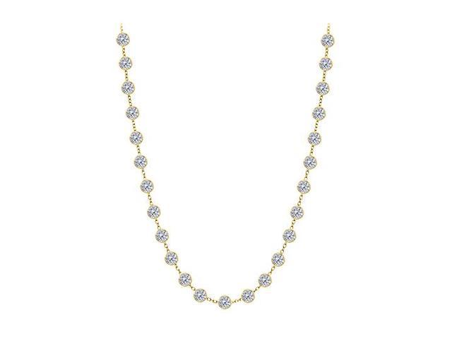 Diamond By The Yard Necklace in 14K Yellow Gold Bezel Set 2.50 ct.tw