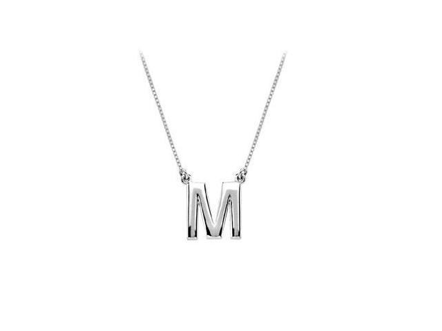 Baby Charm Initial Pendant M 14K White Gold