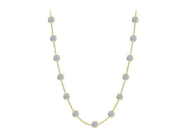 Diamond By The Yard Necklace in 14K Yellow Gold Bezel Set 3 ct.tw