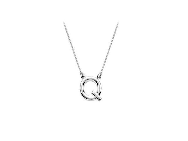 Baby Charm Initial Pendant Q 14K White Gold