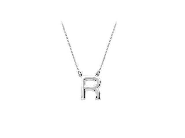 Baby Charm Initial Pendant R 14K White Gold