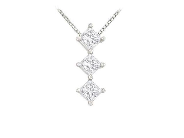 Princess Diamond Pendant  14K White Gold - 0.25 CT Diamonds