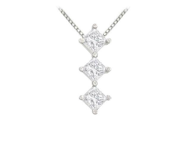 Princess Diamond Pendant  14K White Gold - 0.50 CT Diamonds