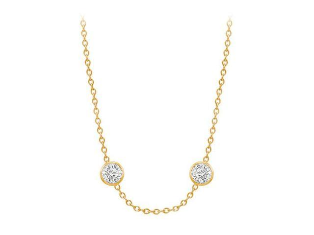 Diamonds By The Yard Necklace in 14K Yellow Gold Bezel Set 0.80 ct.tw