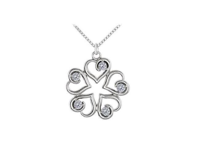 April Birthstone CZ Heart Pendant in 14kt White Gold 0.25 CT TGW